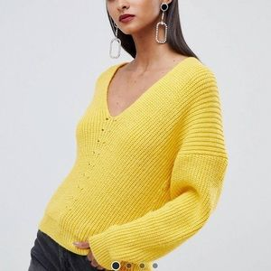 ASOS tall v neck yellow sweater us size 6